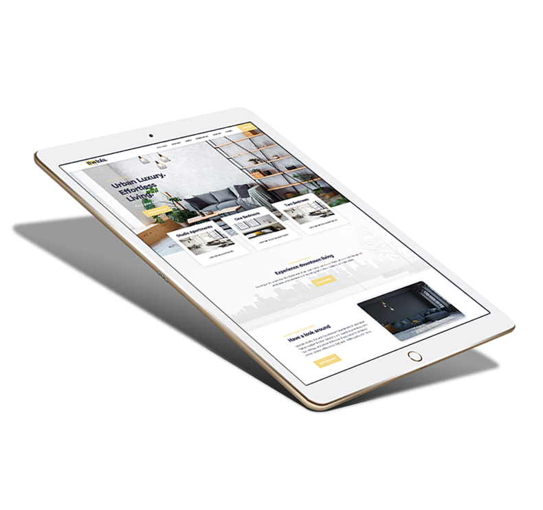 website mockup on tablet device