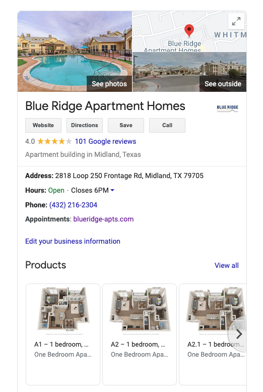Google My Business Profile for Blue Ridge Apartment Homes