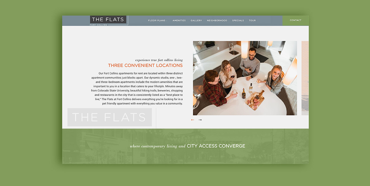 The Flats Apartment Website Mockup