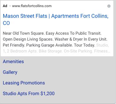 Google PPC Ad for apartment