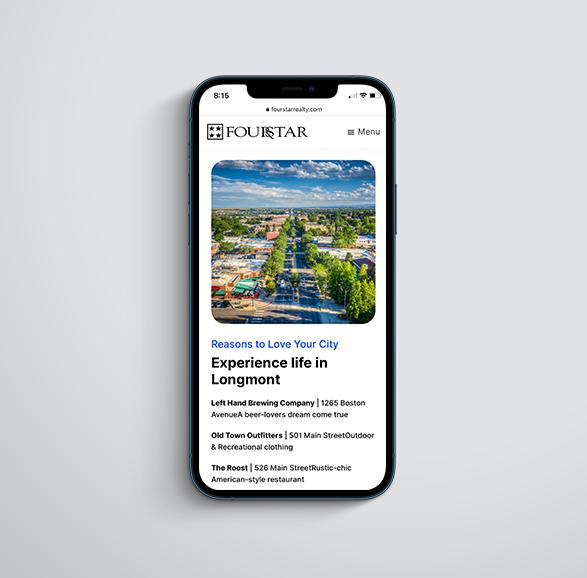 property management web design on mobile mockup